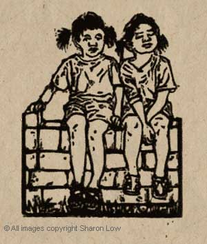 On the fence or Twins in the sun - Fine art linocut relief print - 80 x 100 mm on Nepalese Lokta paper
